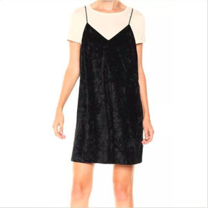Kensie Dress Black Crushed Velvet Double Layer